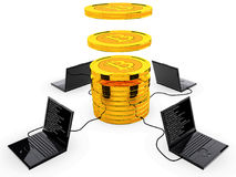 Bitcoin concept. Computer generated photo of a Bitcoin cryptocurrency mining.3d illustration Stock Photos