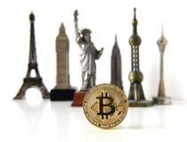Bitcoin concept, cryptocurrencies. World economy concept. Golden Stock Photography