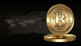 Bitcoin Concept. Cryptocurrency coin on digital world map background Royalty Free Stock Photos