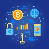 Bitcoin concept. Cryptocurrency earning elements. Digital money. Block chain, finance symbol. Flat style vector illustration Royalty Free Stock Images
