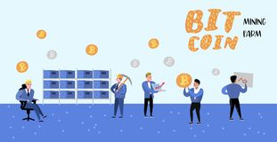 Bitcoin Concept with Flat Cartoon Characters Poster, Banner. Crypto Currency Virtual Money. Bitcoin Mining, Finance. Bitcoin Concept with Flat Cartoon Characters vector illustration