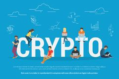 Bitcoin concept illustration. Crypto technologies concept design. Flat vector illustration of young people using laptop and smartphone mobile app for funding and Stock Image
