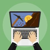 Bitcoin concept. Bitcoin mining concept with laptop, pickaxe, coin and mountain. Earning cryptocurrency. Vector illustration Stock Photos