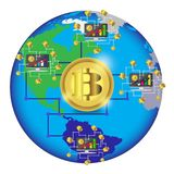 Bitcoin concept and network of connected icons.Business financial network on the World map.  Bitcoin cryptocurrency digital paymen Royalty Free Stock Photography