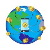 Bitcoin concept and network of connected icons.Business financial network on the World map.  Bitcoin cryptocurrency digital paymen Royalty Free Stock Image