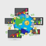 Bitcoin concept and network of connected icons.Business financial network on the World map.  Bitcoin cryptocurrency digital paymen Royalty Free Stock Photos