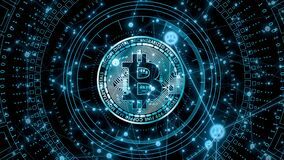 Bitcoin concept piece depicted Bitcoins rise in popularity in this futuristic monetary crypto currency blockchain techno