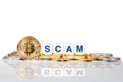 Bitcoin conceptual do cryptocurrency com a palavra Scam imagens de stock royalty free