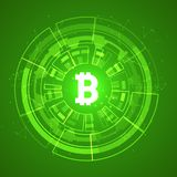 Bitcoin conceptual glowing background. Crypto currency blockchain business mining bitcoin.  vector illustration