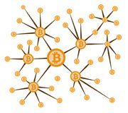 Bitcoin connection in star type network.  Stock Illustration