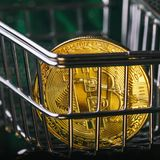 Bitcoin in the consumer basket stock photo