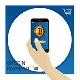 Bitcoin. Hand holding smartphone with gold bitcoin and finger pr. Bitcoin contactless payment. Hand holding smartphone with gold bitcoin and finger press button Royalty Free Stock Image