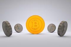 Bitcoin contra monedas del mundo fotos de archivo libres de regalías