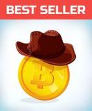 Bitcoin in cowboyhoed Bitcoin Digitale munt Crypto munt Geld en financiënsymbool De mijnwerker beet muntstuk royalty-vrije illustratie