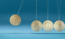 Bitcoin cradle 3d royalty free stock photography