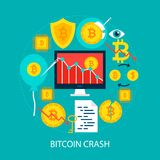 Bitcoin Crash Flat Concept. Poster Design Vector Illustration. Set of Cryptocurrency Objects Royalty Free Stock Photo