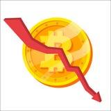 Bitcoin Crash Graph Vector. Bitcoin Crypto Currency Market Concept. Negative Growth Exchange Trading. Cartoon Stock Photography