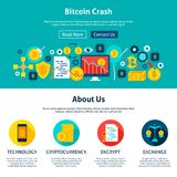 Bitcoin Crash Website Design. Flat Style Vector Illustration for Web Banner and Landing Page Royalty Free Stock Photography