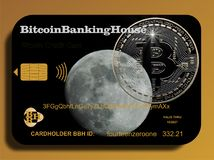 Bitcoin credit card Royalty Free Stock Photo