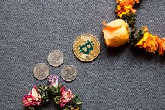 Bitcoin cresce, a queda dos dólares fotografia de stock