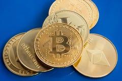 Bitcoin cripto e ethereum do litecoin da moeda Imagens de Stock Royalty Free