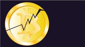 Bitcoin criqué volumétrique jaune miroitant lumineux métallique de pièce de monnaie d'or Face de la pièce de monnaie cassée de bi illustration libre de droits