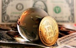 Bitcoin cristal globe over  dollar background Stock Photo