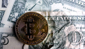Bitcoin on Crushed dollar banknote. Bitcoin on Crushed  dollar banknote.Concept of  conspiracy Royalty Free Stock Photo