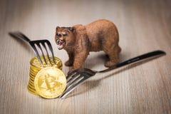 Bitcoin crypto bear market concept stock photo