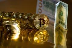 Bitcoin Crypto or Bitcoin, BTC de devise Macro tir des pièces de monnaie de Bitcoin Technologie de Blockchain, concept d'exploita photographie stock libre de droits