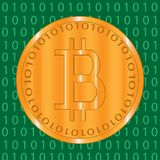 Bitcoin crypto-currencies coins with green binary code on background Stock Photo