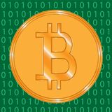 Bitcoin crypto-currencies coins with green binary code on background royalty free stock photography