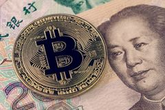 Bitcoin crypto currency banned in China concept, closed up shot stock photos