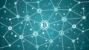 Bitcoin crypto currency blockchain on blue background bitcoin transactions and blocks. Bitcoin crypto currency and blockchain on blue background bitcoin Royalty Free Stock Images