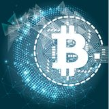 Bitcoin crypto currency blockchain flat logo a blue background. Block chain bitcoin sticker for web or print. Royalty Free Stock Photography