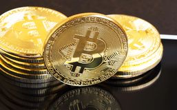 Bitcoin crypto currency coin ,financial electronic currency coin Stock Photos