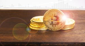 Bitcoin crypto currency coin ,financial electronic currency coin Stock Image