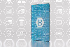 Bitcoin / crypto-currency concept with futuristic smartphone as vector illustration