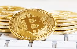 Bitcoin crypto currency decentralized coin ,financial electronic Royalty Free Stock Image