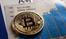 Bitcoin crypto currency  diagram Royalty Free Stock Photos