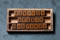 Bitcoin crypto currency and digital money concept. Vintage box, wooden cubes phrase with old style letters. Gray stone. Textured background. Close-up, up view royalty free stock photography
