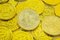 Bitcoin crypto currency electronic money image closeup. royalty free stock photography