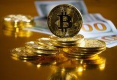 Bitcoin. Crypto currency Gold Bitcoin, BTC. Macro shot of Bitcoin coins. Blockchain technology, bitcoin mining concept. Bitcoin. Crypto currency Gold Bitcoin stock image