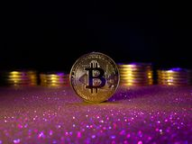 Bitcoin. Crypto currency Gold Bitcoin, BTC. Macro shot of Bitcoin coins. Blockchain technology, bitcoin mining concept. Bitcoin. Crypto currency Gold Bitcoin royalty free stock images