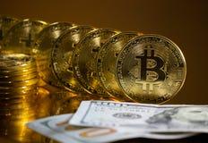 Bitcoin. Crypto currency Gold Bitcoin, BTC. Macro shot of Bitcoin coins. Blockchain technology, bitcoin mining concept. Bitcoin. Crypto currency Gold Bitcoin royalty free stock image