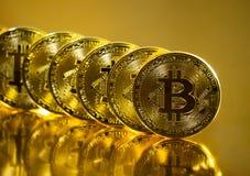 Bitcoin. Crypto currency Gold Bitcoin, BTC. Macro shot of Bitcoin coins. Blockchain technology, bitcoin mining concept. Bitcoin. Crypto currency Gold Bitcoin stock photo