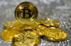 Bitcoin. Crypto currency Gold Bitcoin, BTC. Macro shot of Bitcoin coins. Blockchain technology, bitcoin mining concept. Bitcoin. Crypto currency Gold Bitcoin stock photography