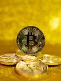 Bitcoin. Crypto currency Gold Bitcoin, BTC. Macro shot of Bitcoin coins. Blockchain technology, bitcoin mining concept. Bitcoin. Crypto currency Gold Bitcoin royalty free stock photo