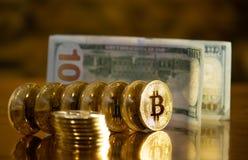 Bitcoin. Crypto currency Gold Bitcoin, BTC. Macro shot of Bitcoin coins. Blockchain technology, bitcoin mining concept. Bitcoin. Crypto currency Gold Bitcoin royalty free stock images