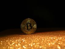 Bitcoin. Crypto currency Gold Bitcoin, BTC. Macro shot of Bitcoin coins. Blockchain technology, bitcoin mining concept. Bitcoin. Crypto currency Gold Bitcoin royalty free stock image